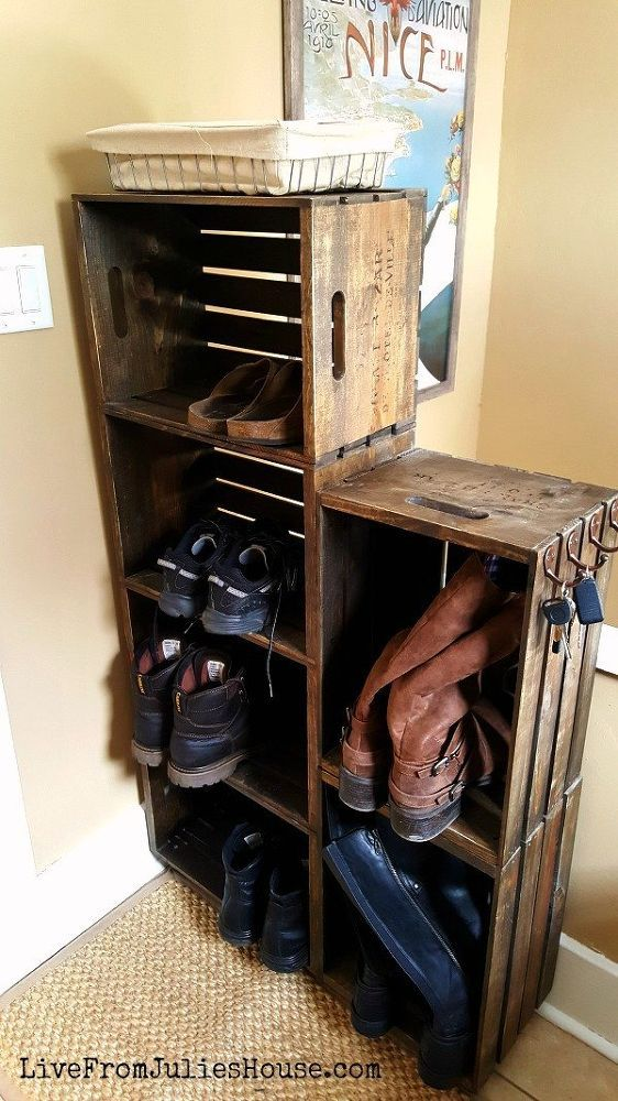 diy wooden crate shoe rack