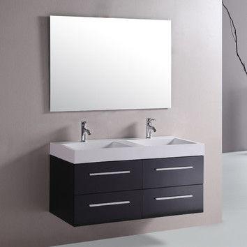 """Kokols Kokols 48"""" Floating Double Sink Bathroom Vanity Set ..."""