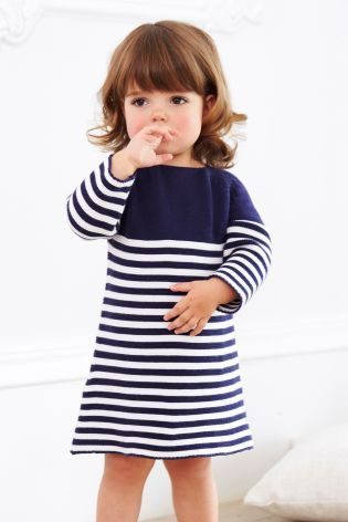 Buy Navy/White Knitted Stripe Dress (0mths-2yrs) online today at Next Direct: Brazil
