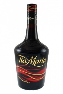 Tia Maria     Coffee liqueur made originally in Jamaica using Jamaican coffee beans. The main flavor ingredients are coffee beans, cane spirit, vanilla, and sugar, fermented to an alcoholic content of 26.5%.