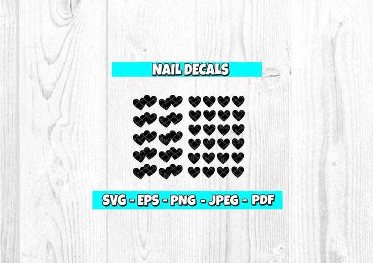 Hearts SVG Nail Decal svg Nail Art svg Heart Nail svg