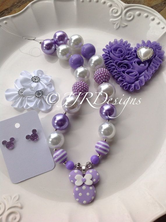 Minnie Mouse Inspired Girl NecklaceRed by JJRDesigns on Etsy- Easter Necklace- Pastel Minnie- Purple Minnie