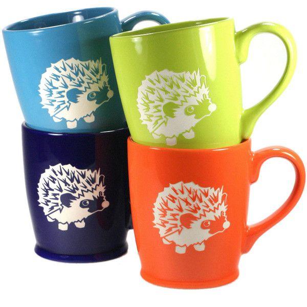 4 Hedgehog Mugs Sky Blue Navy Blue Green & Orange Microwave-Safe... ($90) ❤ liked on Polyvore featuring home, kitchen & dining, drinkware, black, drink & barware, home & living, mugs, outdoor drinkware, quote mugs and orange mug