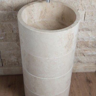 COLONNA  freestanding becken  #travertin #waschbecken #stein #bad  https://shop.pietredirapolano.com/de/produkt/colonna-freestanding-becken-tr086ch/