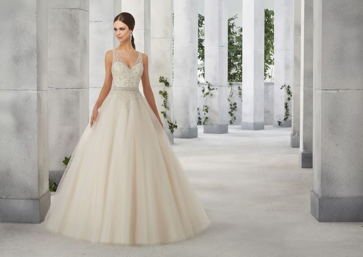 FEMME Błyszczący gorset na ramiączka, typ PRINCESS sukni ślubnej Madeline Gardner Piękna tiulowa spódnica i szykowna góra, suknia z haftowanymi …