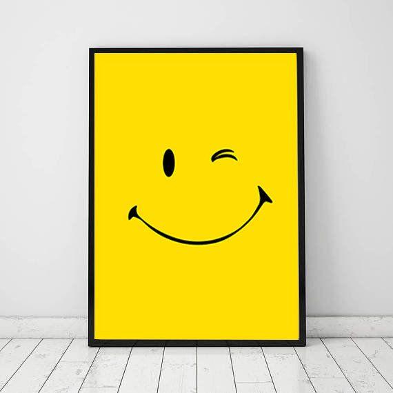 Smiley 2 Print Smile Smiling Printable Wall Art Large Poster Decor