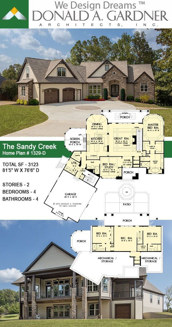 The Sandy Creek House Plan 1329 D In 2020 Lake House Plans Mountain House Plans Craftsman House Plans