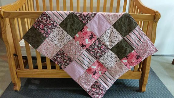 Western Baby Quilt Pink Brown Pack and Play Quilt