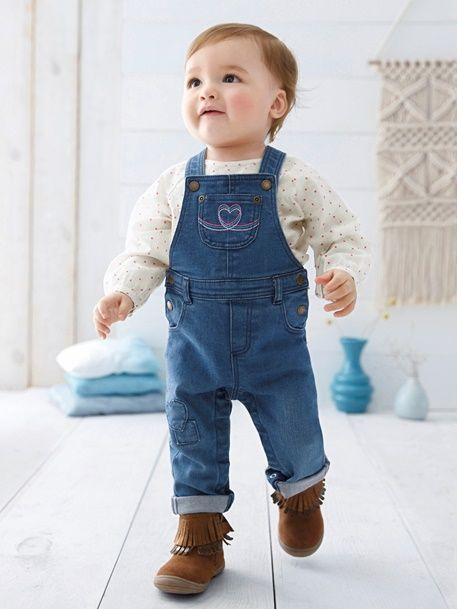 Conjunto para bebé niña de blusa estampada + peto vaquero