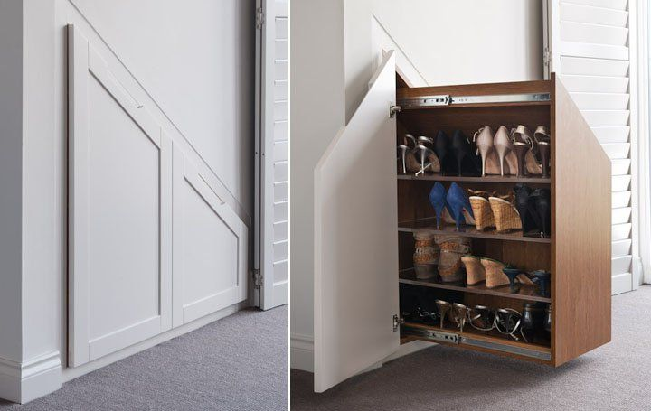 Space for shoes in the lowest part under the stairs