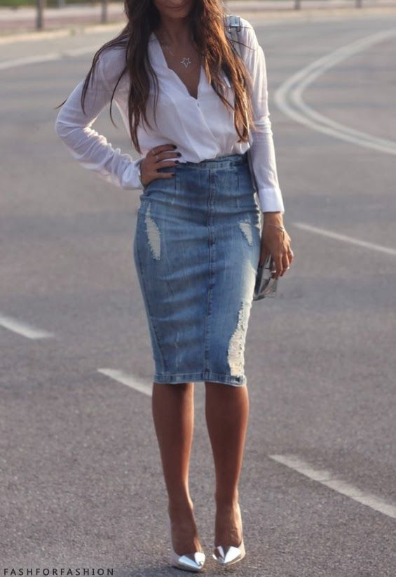 distressed denim pencil skirt with white shirt and silver pumps.