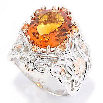 Gems en Vogue 4.36ctw Oval Madeira Citrine & Orange Sapphire Flower Band Ring