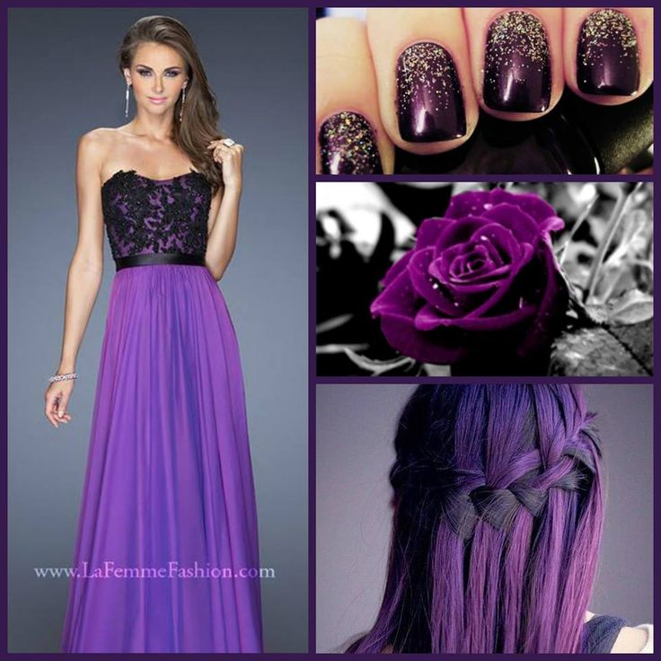 Purple and black lace dress