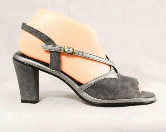 Size 8.5 Sandals – Gray Suede 1970s Shoes with Silver Trim – Grey 70s Heels – Open Toe – Hush Puppie  – Products