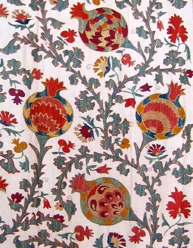 Beautiful textile printed with pomegranates