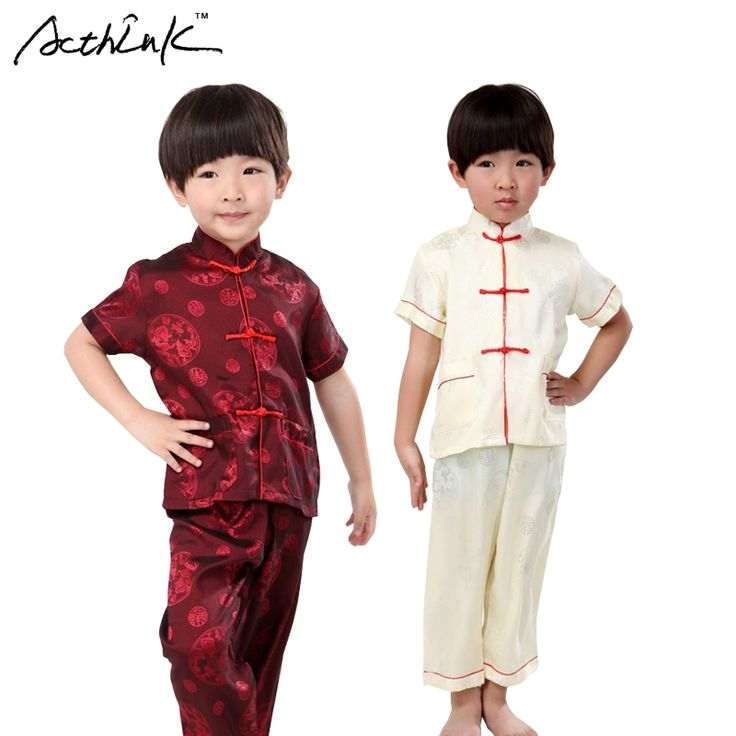 16.99$  Buy here - http://alipg5.shopchina.info/1/go.php?t=32797169900 - ActhInK Children Summer Silk Short Tang Suit for Boys Chinese Style Clothing Set Kids Kongfu Performance Costume Suits, AC023  #buyonline