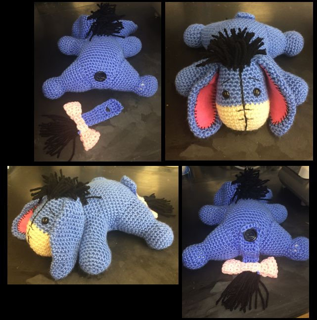 I found the original eeyore pictures from aphid777's deviant art blog. I printed the pictures out and used trial and error to crochet all of the parts. Aphid777 stated several times on her blog tha...