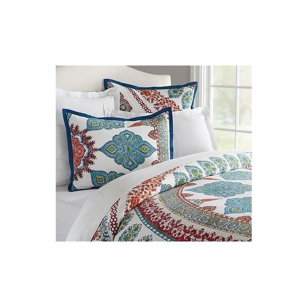 Pottery Barn Aurora Duvet Cover (€155) ❤ liked on Polyvore featuring home, bed & bath, bedding, duvet covers, bohemian duvet, cotton bedding, bohemian bedding, pottery barn shams and pottery barn duvet
