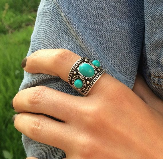 Boho Ring Gypsy Ring Bohemian Ring Silver Statement
