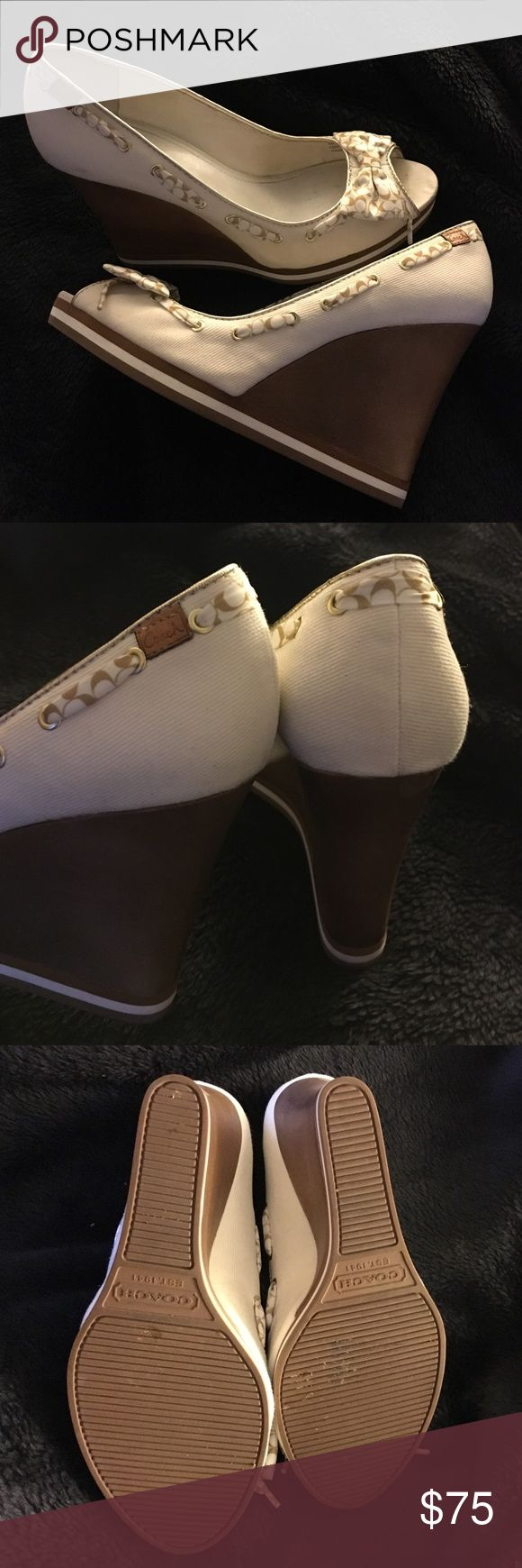 OFFER ME  Coach Thalia wedge Pre loved in box. See pictures Make an offer. Bundle and save! Free shipping on ♏️ercari Coach Shoes Wedges