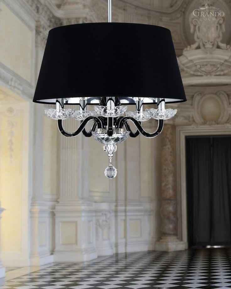 104/SP5 chrome black crystal chandelier with decorated crystal Swarovski Spectra. - GrandoLuce