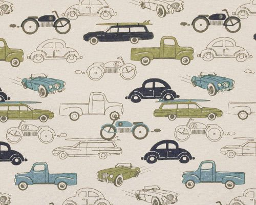 1/2 Yard Fabric- Premier Prints Retro Rides- Felix Blue and Natural/Cream Vintage Car
