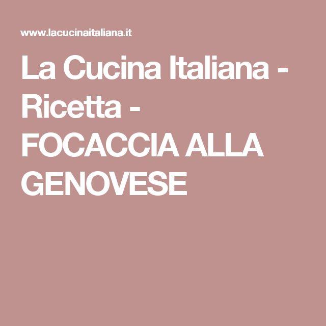 La Cucina Italiana -  Ricetta - FOCACCIA ALLA GENOVESE