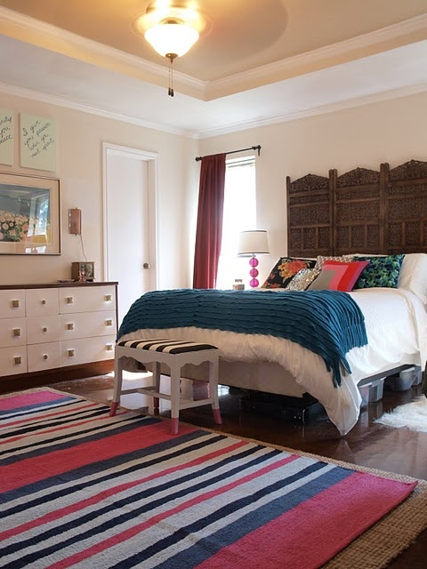 Master Bedroom John Robshaw Rug Vintage Scarf Pillows