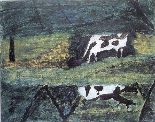 """Piotr Potworowski, 1954, """"Black Cow"""""""