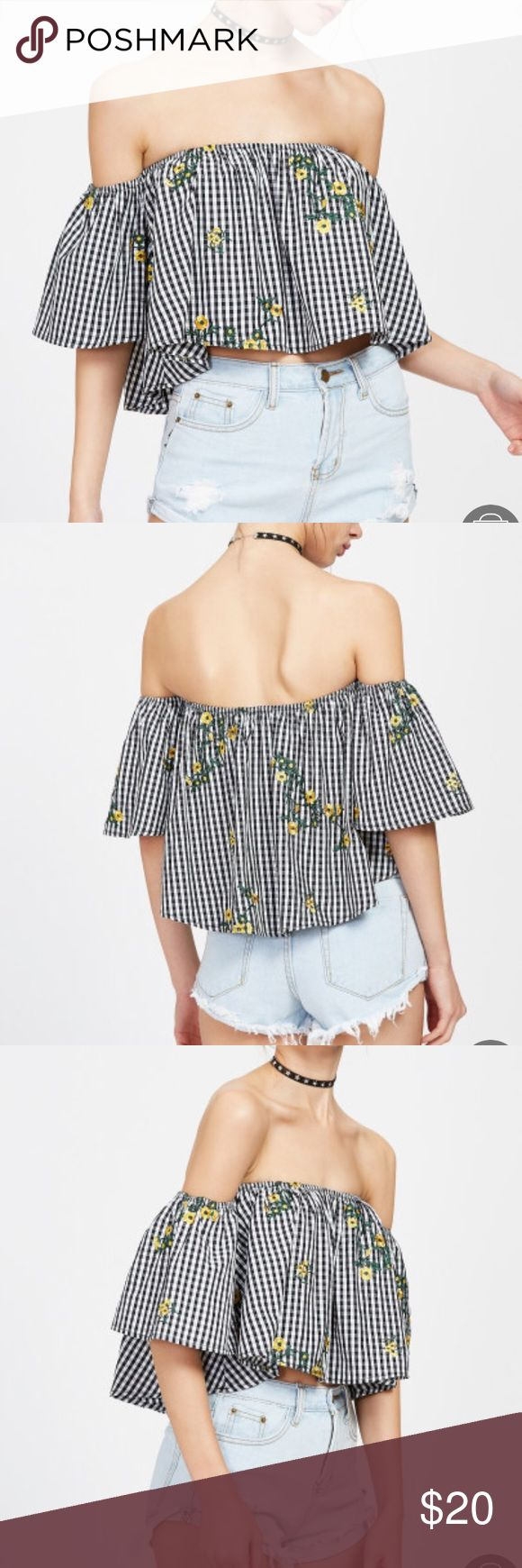 NWOT Off shoulder gingham embroidered trapeze top Black and white checkered Bardot neckline off the shoulder top with embroidered yellow flowers. New and never worn. NOT from Asos. ASOS Tops Blouses