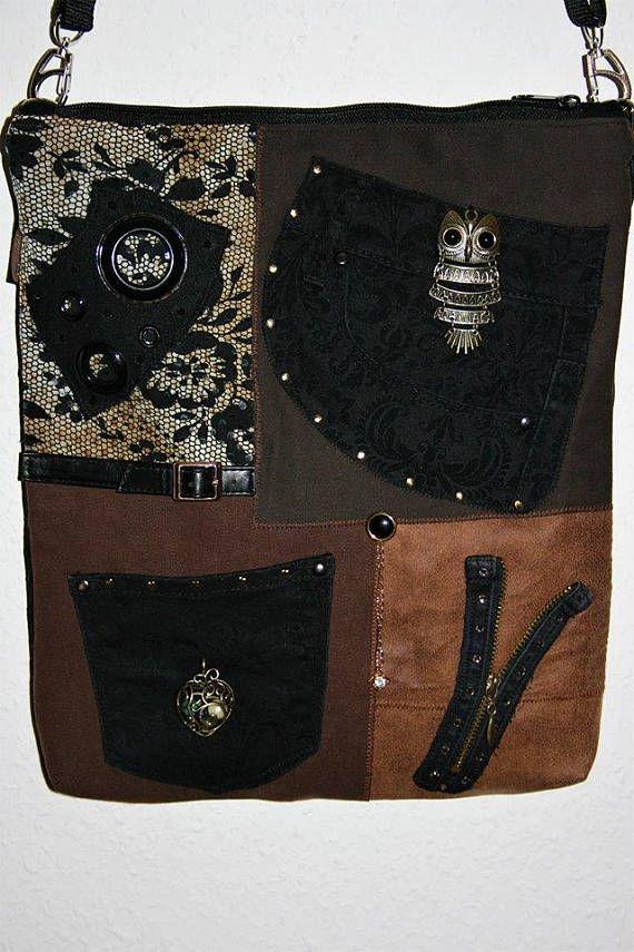 Umhängetasche Crazy Bag schwarz braun
