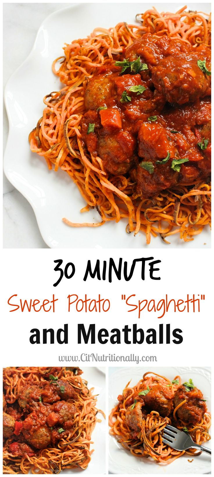 """I love this new take on Classic Spaghetti & Meatballs using """"Sweet Potato Spaghetti"""" and Carando meatballs!  Now you can have this delicious dish without all the carbs.    #ad"""