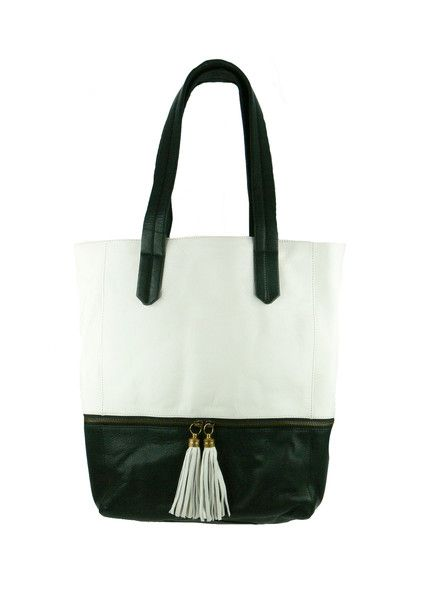 Tassel Leather Tote - Black / Ivory $279.95 #leethal #accessories #fashion