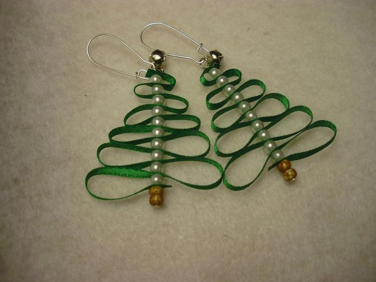 Christmas Tree Earrings. $3.00, via Etsy.