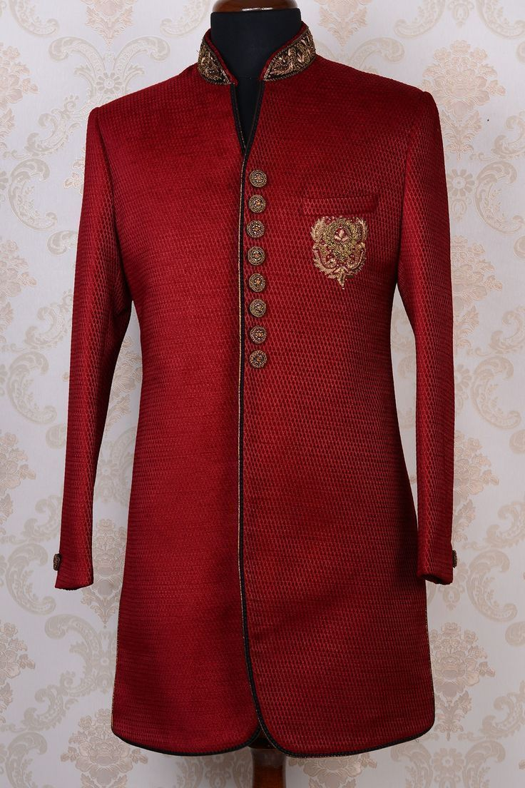 Indian designer outfit wedding sherwani eight button embroidered