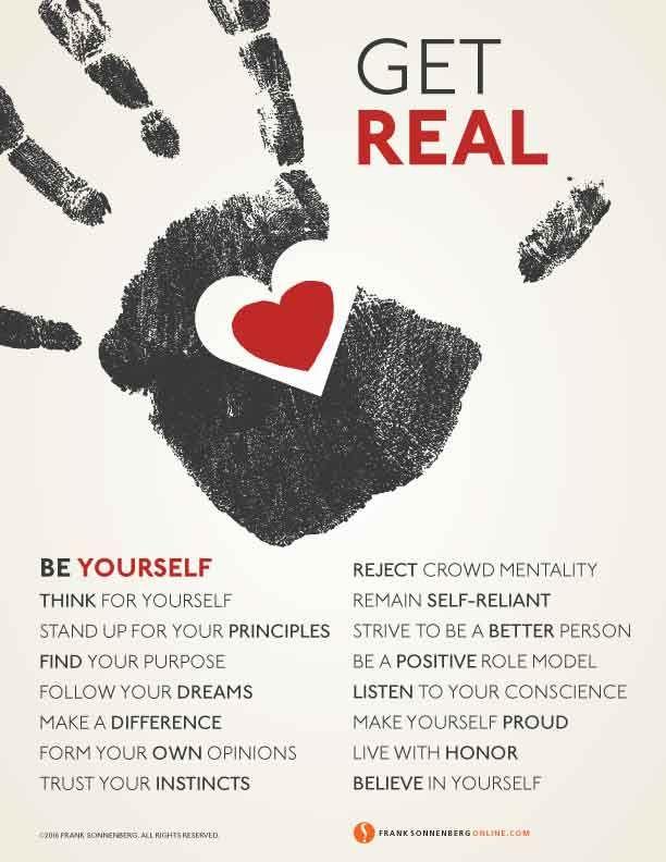 Get Real…Be Yourself I www.FrankSonnenbergOnline.com