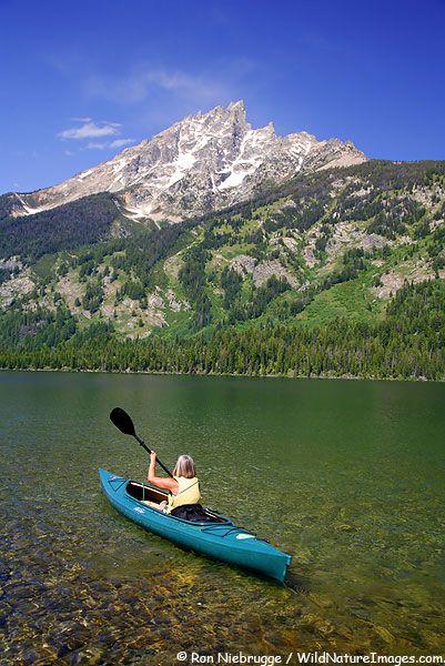 Kayaking on Jenny Lake in Grand Teton National Park, Wyoming.