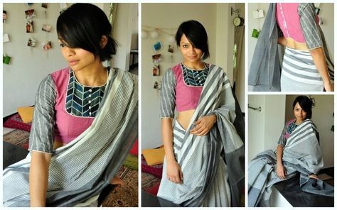 PATCHWORKED BLOUSE  02Mauve pink cotton blouse with ajrak printed patchwork and grey ikat sleeve with button detailing at the back. This is teamed with grey cotton sari with off-white stripes. Price upon request (ONLY via emails). The blouse is available in sizes - 32  34  36  28  40  42 and 44.To order this blouse/sari and for other purchase related queries  kindly mail at bhangthestore@gmail.com  Orders for customising this blouse can be placed only until stock lasts.  17 April 2017