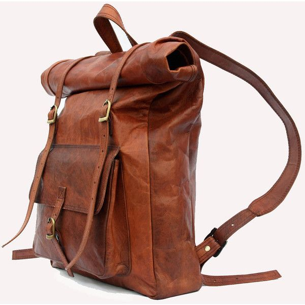 Leather Roll Top Backpack / Rucksack - Vintage Retro Looking (€130) ❤ liked on Polyvore featuring bags, backpacks, accessories, purses, handbags, vintage leather backpack, water resistant backpack, leather flap backpack, brown leather backpack and day pack backpack
