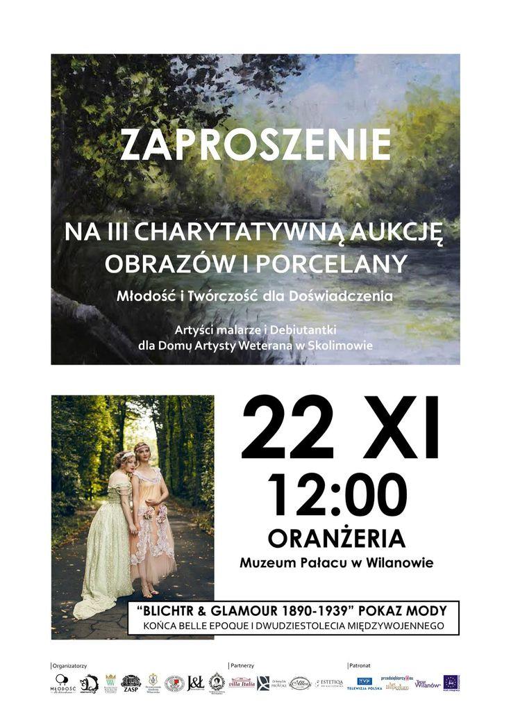 22 listopada, w Oranżerii Muzeum Pałacu w Wilanowie, odbędzie się charytatywna aukcja obrazów, porcelany i innych przedmiotów artystycznych na rzecz Artystów ze Skolimowa. http://artimperium.pl/wiadomosci/pokaz/677,charytatywna-aukcja-sztuki-i-porcelany-na-rzecz-artystow-ze-skolimowa#.VkzK-XYvfIU