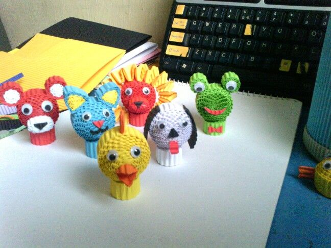 My recreation of Kokoru Animals Pencil Topper. Red Bear, Red-Yellow Lion, Green Frog, Blue Cat, White Dog and a Yellow Chicken.