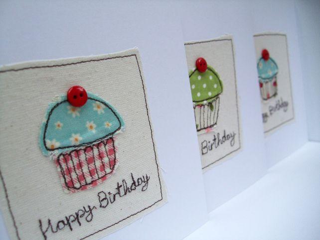 Cupcake Birthday Card - Machine Embroidered Birthday Card £3.10