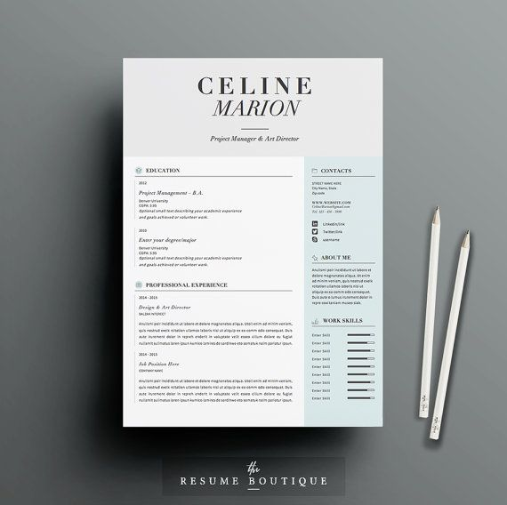Resume Template 4pk CV Template Cover By TheResumeBoutique