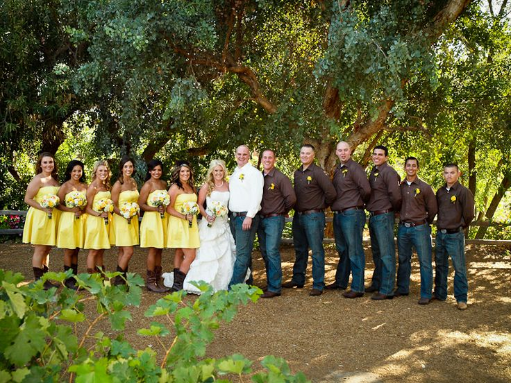 Kodadek Country Wedding Brown And Yellow Jeans And