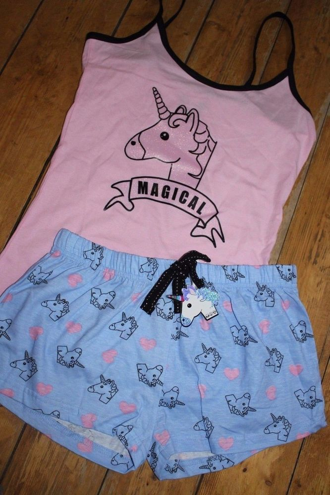 Ladies Primark Pyjamas UNICORN MAGICAL GLITTER Cami Vest Shorts