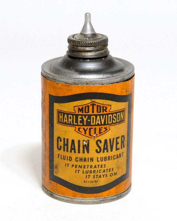 1950's HARLEY DAVIDSON CHAIN SAVER Tin Oil Can
