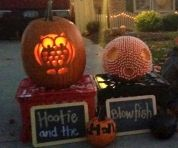 """We have an annual neighborhood pumpkin-lighting contest. Our Hootie and the Blowfish was a big hit! We used an owl template with normal pumpkin-carving tools and hot-glued hundreds of candy corn to make the blowfish."" —Bethany F., Bucyrus, OH"