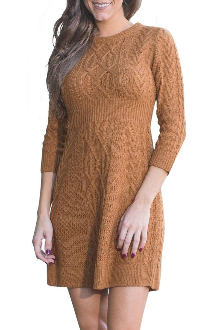 Robe Pull Tricote Cable Marron Manches 3/4 Pas Cher www.modebuy.com @Modebuy #Modebuy #Marron