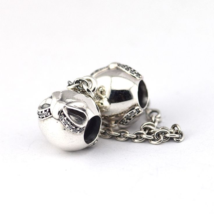 Fits Pandora Charm Bracelets 100% Sterling Silver Original 925 Beads Bow Silver Safety Chain With Clear Cubical Zircon Wholesale www.bernysjewels.com #bernysjewels #jewels #jewelry #nice #bags