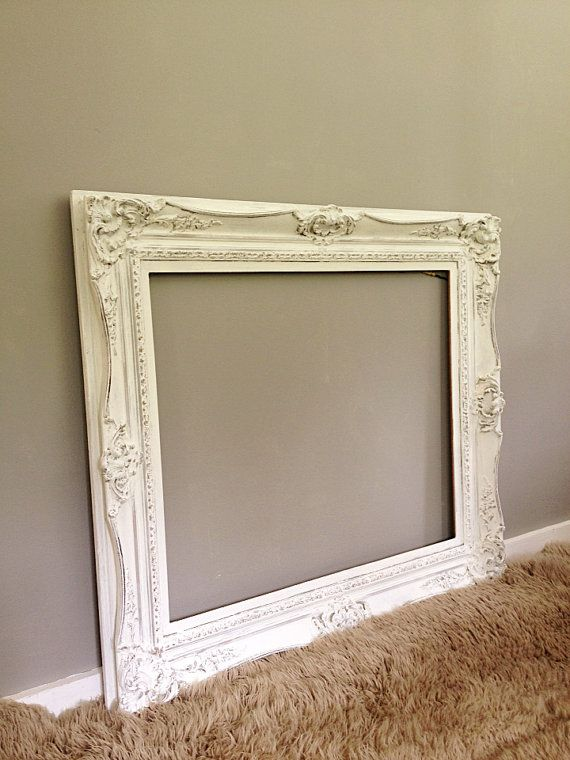 Large ornate frame vintage wood baroque wall hanging for Large wall mirror wood frame